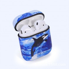 Dolphin Pattern PU Leather Case with Hook Keychain